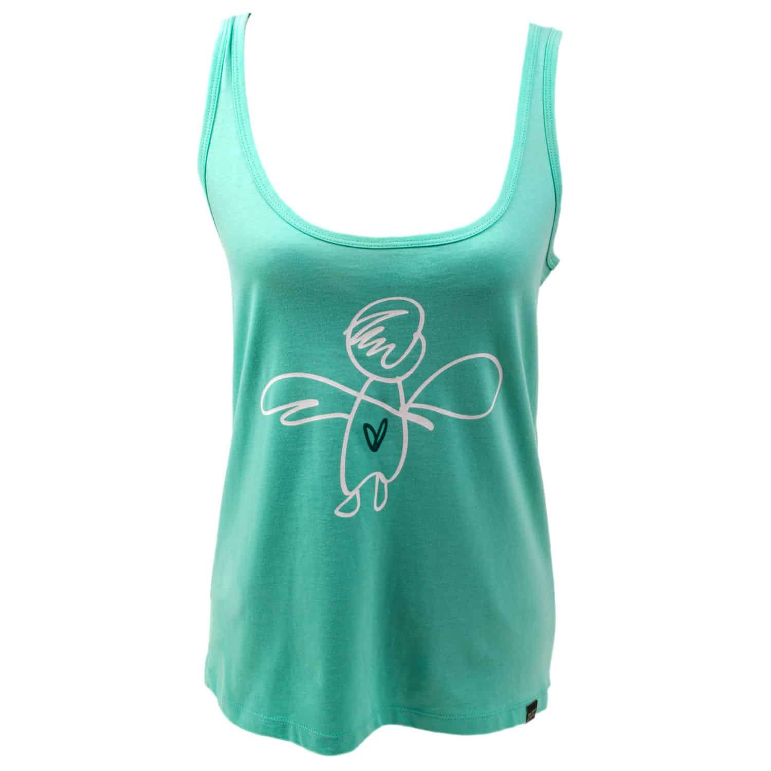 Tanktop - eco cotton - silk screen design - Give your love wings