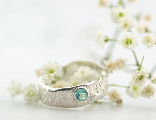 Organic ring – silver – amazonite stone